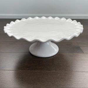 PIER 1 Round White Dessert Stand with Ruffle Trim